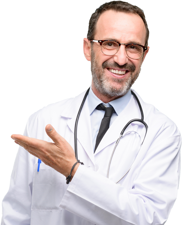 Doctor senior man, medical professional holding something in empty hand